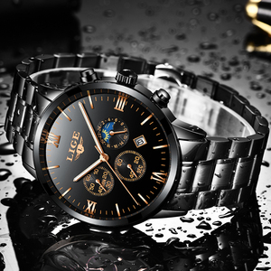Image 5 - Lige relógio famoso moda masculina relógio de quartzo dos homens relógios de luxo marca superior negócios aço completo à prova dwaterproof água relógio relogio masculino
