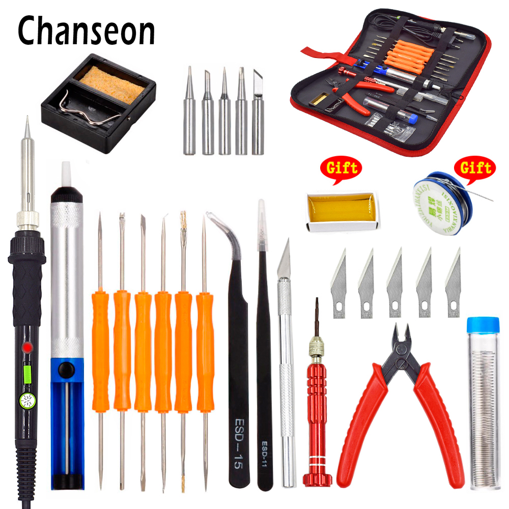 Chanseon EU 60W Temperature Adjustable Electric Soldering Iron Kit Desoldering Pump Tin Wire Welding Tools Storage Bag New