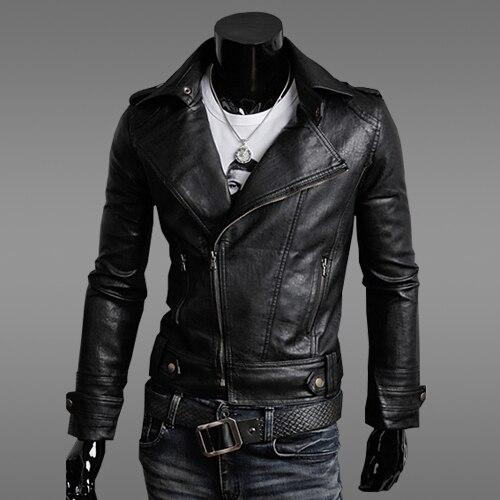 Chaqueta de cuero de motocicleta de moda para hombres primavera y otoño nuevo Color sólido negro marrón cuello de cuero delgado para hombres 2XL