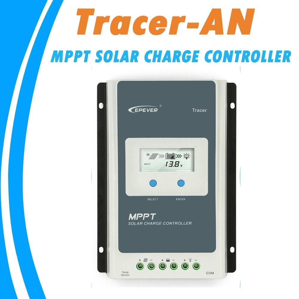EPever MPPT 40A/30A/20A/10A carga Solar luz negro LCD regulador Solar para 12 V 24 V plomo ácido baterías de iones de litio
