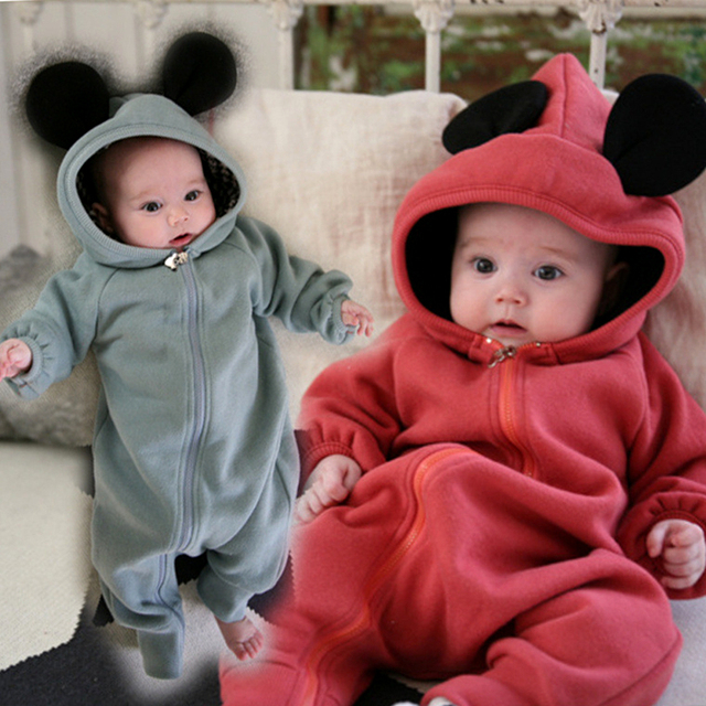 90332f1a5 Newborn Baby Boys Clothing Autumn Warm Girls Rompers Mickey Infant ...