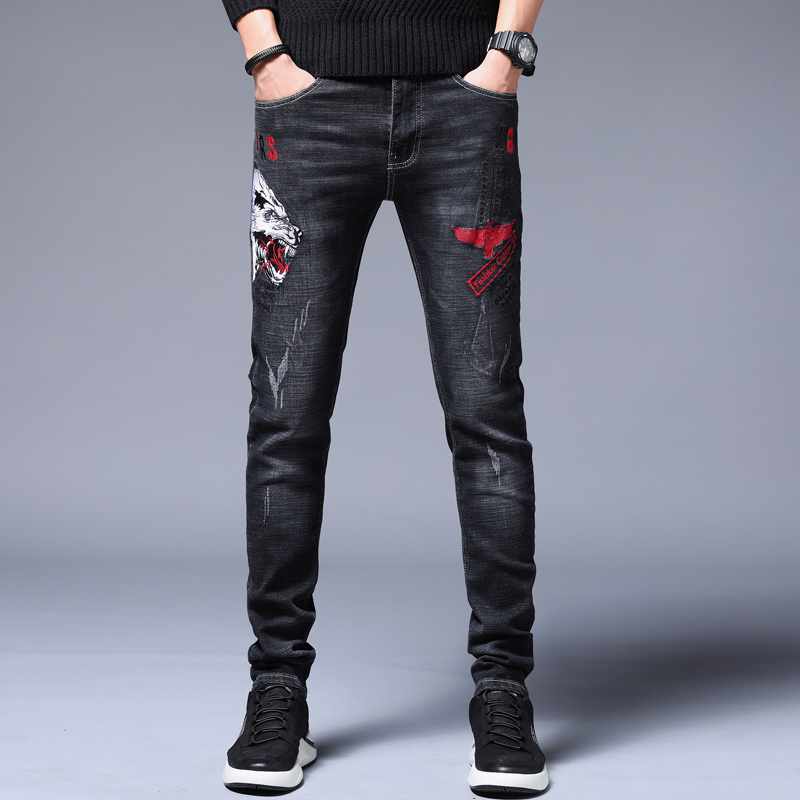 New Jeans Men trousers male jeans modis embroidery men clothes 2018 streetwear for Winter skinny jeans black jeans hip hop