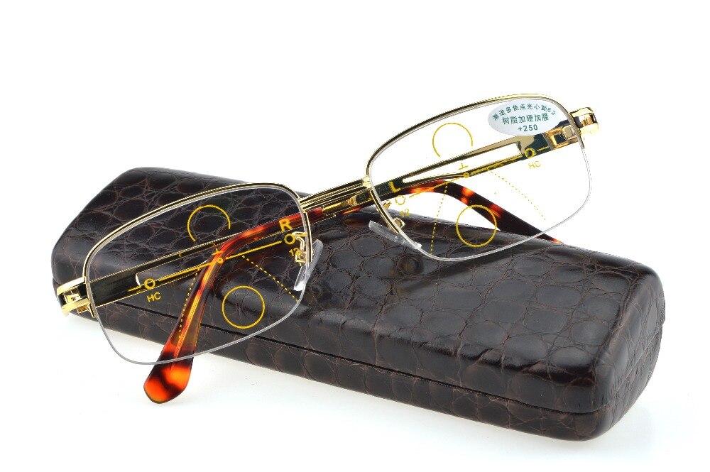 GOLD Progresivní multifunkční brýle na čtení Pánské zlato Podívejte se na blízkou ultralehkou slitinovou inteligenci Přidat +1 +1,5 +2 do +4