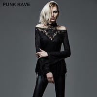 PUNK RAVE Black Lace Hollow Out Sexy Tops Tee Gothic Steampunk Strapless Deep V Neck Long Sleeve T shirt