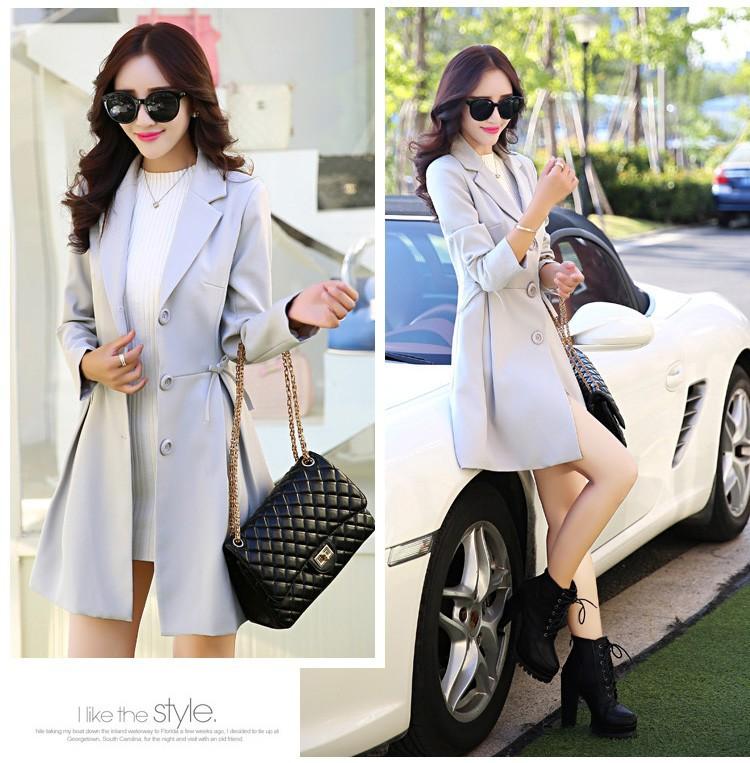 Super Pretty  Elegant Trench Coat Women Windbreaker Ladies Peplum Jacket Pink Grey Green Manteau Femme Silm Long Blazers cccc (2)