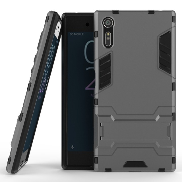 the latest 408a3 c7534 US $2.68 6% OFF|Shockproof Armor Case For Sony Xperia XZ F8331 F8332 TPU +  PC Hard Protective Cover For Sony Xperia XZ Fundas Holder-in Fitted Cases  ...