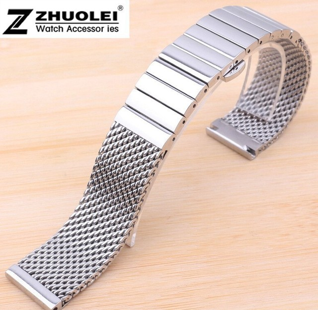 926df2524cb3 20mm 22mm Silver Shark Mesh Stainless Steel Watch Band Bracelet Deployment  Clasp Buckle