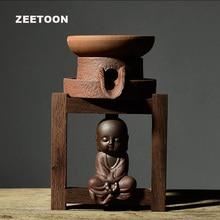 Zen Japanischen Stil Vintage Groben Keramik Teesiebe mit Halter Tee Pet Puer Tee Filter Kung Fu Tee-Set Kreative Wohnkultur