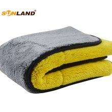Sinland 1000gsm плюшевое полотенце из микрофибры для автомобиля двухстороннее высококачественное микро-волокно для чистки автомобиля 40 см x 60 см 1 упаковка