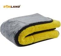 Sinland 1000gsm плюшевое полотенце из микрофибры для автомобиля двухстороннее высококачественное микро-волокно для чистки автомобиля 40 см x 60 см 1 ...