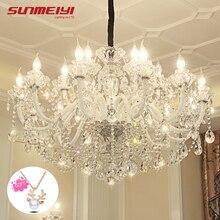 LED de luxe lustres en cristal éclairage lustre cristal pour salon chambre hôtel lampadario LED moderne grands lustres