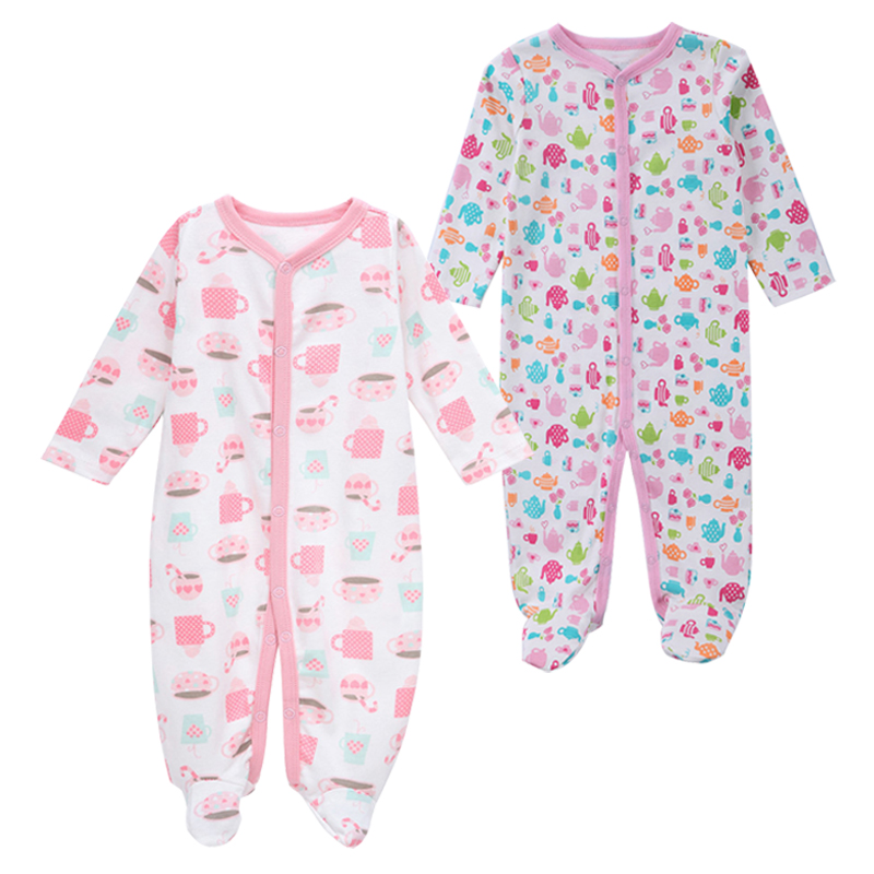 Image 4 - Newborn Baby Boys Girls Sleepers Pajamas Babies Jumpsuits 2 PCS/lot Infant Long Sleeve 0 3 6 9 12 Months Clothes-in Blanket Sleepers from Mother & Kids