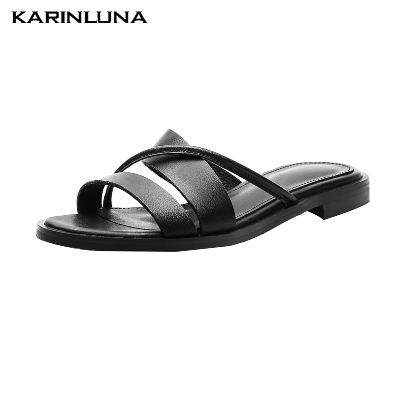 KarinLuna 2019 big size 32 44 genuine leather women shoes leisure flat summer slippers shoes woman