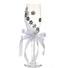 IALJ Топ 2 шт. набор свадебные стеклянные креативные серебряные цветы хрустальные свадебные бокалы для шампанского Кубок Красный бокал для вина, кружка Свадебная