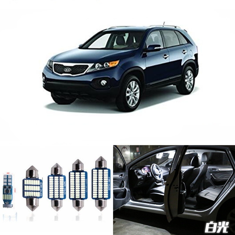 8pcs Car Lamp LED Light Bulbs Interior Package Kit For 2011 2012 2013 Kia Sorento Map Dome Trunk License Plate Light White 12pcs canbus white led light bulbs interior package kit for 2007 2012 mazda cx 7 cx7 map dome trunk license plate lamp pink