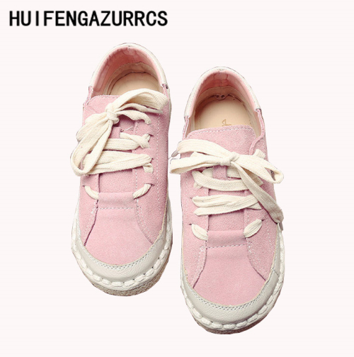 HUIFENGAZURRCS New 2018 Head layer cowhide pure handmade soft shoes the retro art mori girl shoes