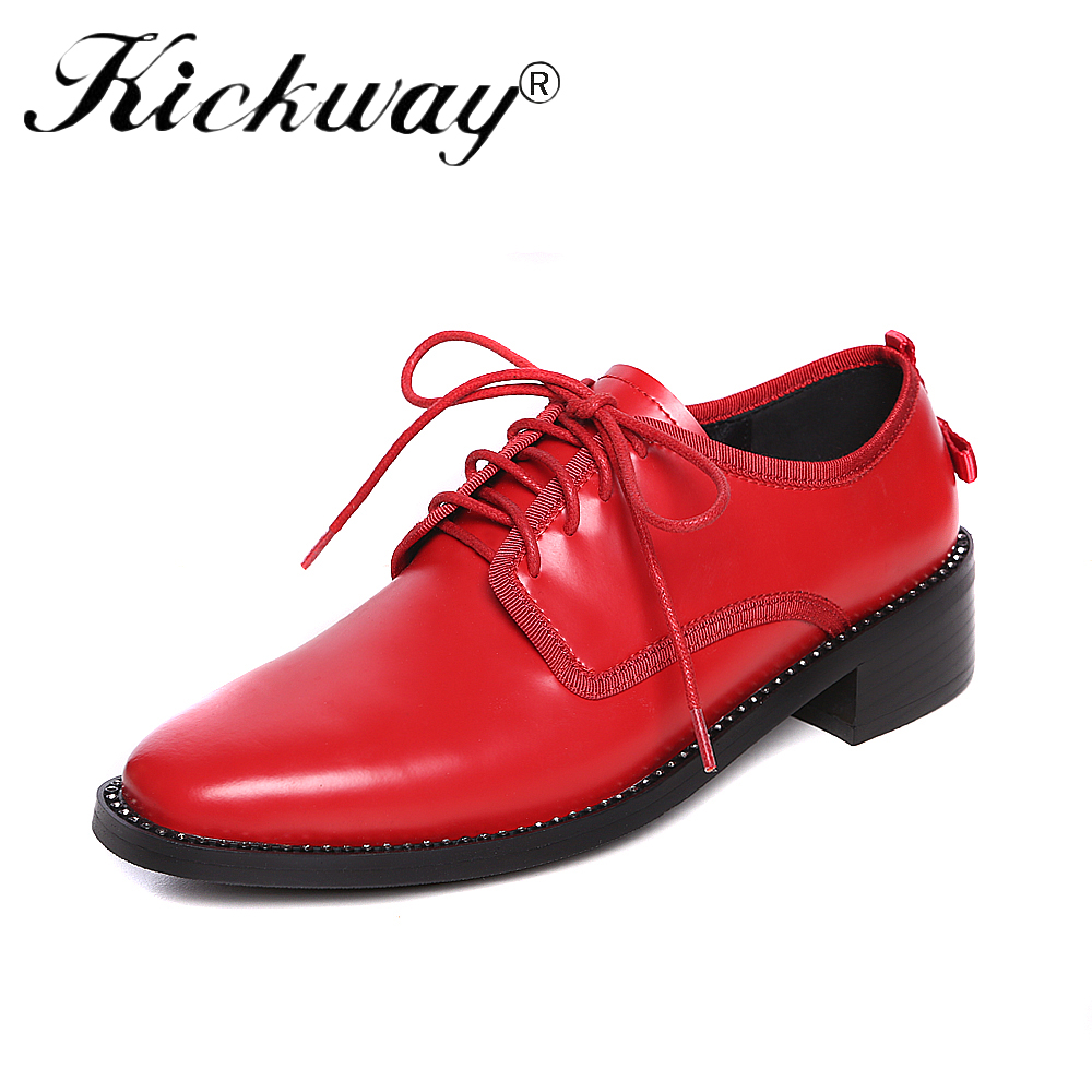 Kickway Brand Spring Women Platform Shoes Woman Brogue Patent Leather Flats Lace Up Footwear Female Flat Oxford Shoes For Women hizcinth 2018 brand women shoes patent leather flat platform female single women s shoes students flats loafers zapatillas mujer