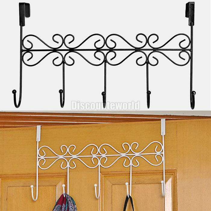 2015 New Fashion Over The Door Iron 5 Hooks Coat Clothes Storage Strong Rack  Hanger 2