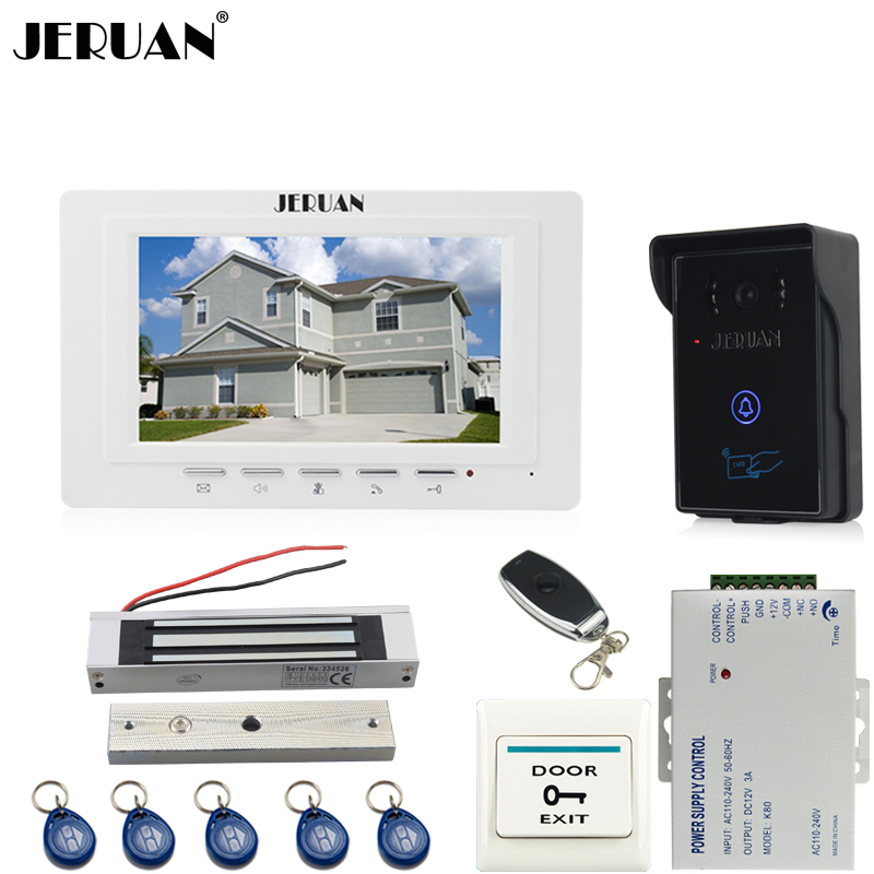 JERUAN brand new 7`` TFT Video Door Phone System 700TVT Touch Camera+Magnetic lock+Remote control Unlock jeruan new 7 lcd video door phone system 700tvt camera access control system electric drop bolt lock remote control unlock