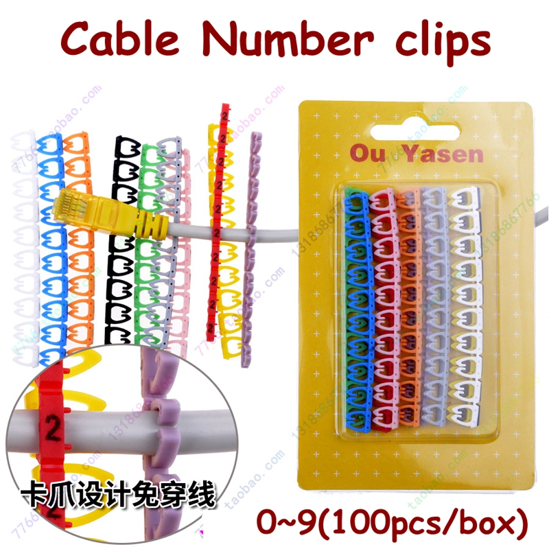 100PCS/box 6mm 7mm CAT5 CAT6 Network Cable Number Marker Clip 0-9 Numbers Cable Markers Color Cable Clips Number Clips