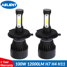 ASLENT Car Headlight H7 H4 LED H8/H11 HB3/9005 HB4/9006 H13 9012 9004 9007 100W 12000lm Auto Bulb Headlamp 6500K Light 12V 24V