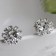 New Style Fashion Shiny Sunflowers Zircon Imitation Crystal Stud Women Earrings Wedding Jewelry Accessories(China)