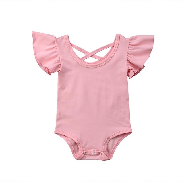 新生児幼児の赤ちゃん女の子ソリッドボディスーツ半袖ジャンプスーツ衣装サンスーツボディースーツかわいい服ブラックグレーピンク0-24メートル