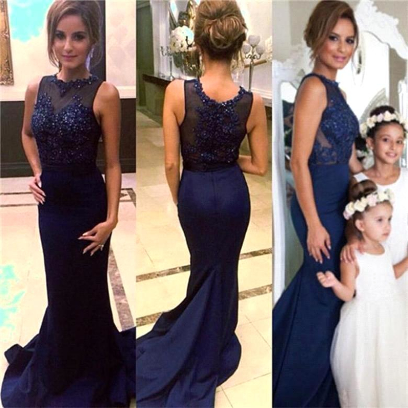 Vestido De Festa Sexy Long Navy Blue Satin Mermaid Prom Gown Formal Beaded Appliques Lace Evening Dress For Wedding Party