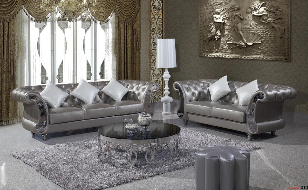 Chesterfield Antique Genuine Leather Sofa, 2+3 Seater Chesterfield,Country  Style Living Room Sofa In Living Room Sofas From Furniture On  Aliexpress.com ...