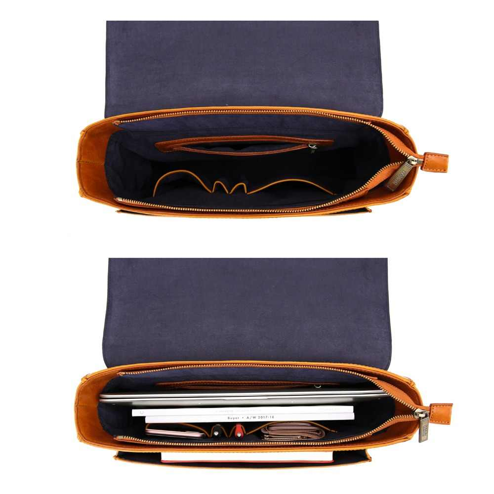 ECOSUSI עור מפוצל כתף שקיות יוניסקס רטרו 14 אינץ מחשב נייד שליח שקיות בציר כתף תיק עבור עבודה