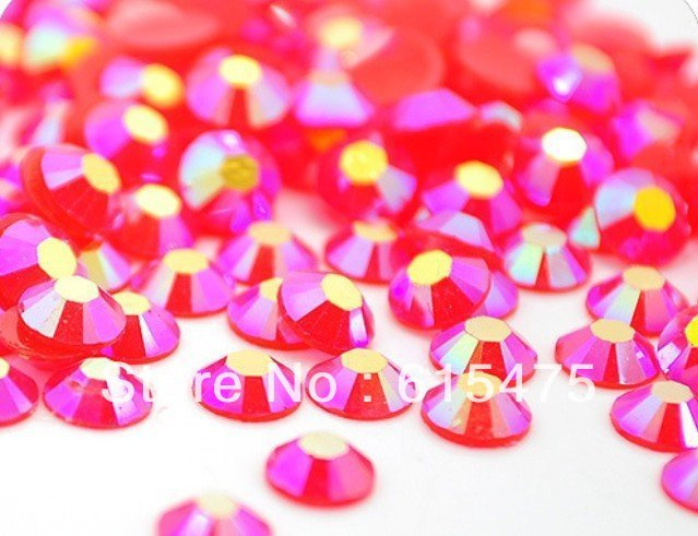 6mm Jelly Lt.Siam AB Color SS30 crystal Resin rhinestones flatback Nail Art Rhinestones,10,000pcs/bag
