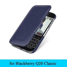 """Luksusowe marki 100% skórzany futerał odwróć Folio pokrowiec na telefon Shell dla Blackberry Classic Q20 3.5 """"Case darmowa wysyłka"""