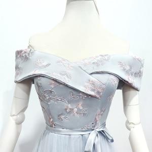 Image 2 - Bridesmaid Dresses Sleeveless Maid of Honor Dresses for Weddings Off The Shoulder Back of Bandage Dress Long  Embroidery Vestido