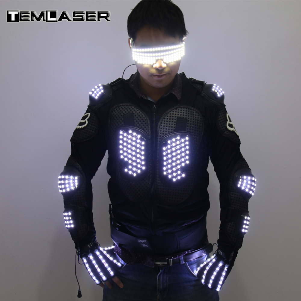 Fashion LED Armor Light Up Jackets Costume Glove Glasses Led Outfit Clothes Led Suit For LED Robot suits