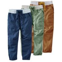 100% Cotton Children Pants Boys For Autumn Winter Fashion Pocket Plus Velvet Casual Trousers Elastic Waist Pants Boys Trousers