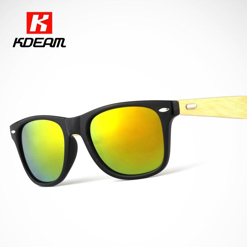 234966437cfb Kdeam Happy Wood Sunglasses Men Farer Style Bamboo Sunglasses Women  Anti-Reflective Glasses Wooden Arms