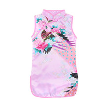1-7Y Baby Dresses Girl Children Girls Chinese Cheongsam Floral Peacock Lapel Sleeveless Summer Dress(China)