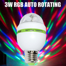 New Full Colorful E27 3w RGB Auto Rotating LED Bulb Stage Light Party Dance DJ Disco