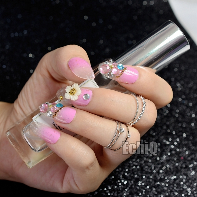 Gradient Pink with Glitter False Nail Flowers Rhinestones Gems Long ...