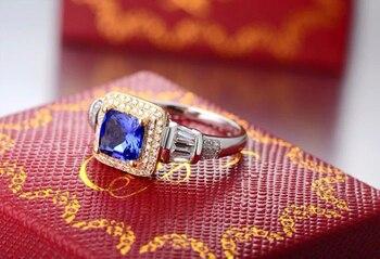 Conjunto Nupcial De Corte De Cojín | Anillo De Compromiso De Oro Amarillo De 14 K De Diamante Azul Púrpura De Corte De Cojín 1.63ct