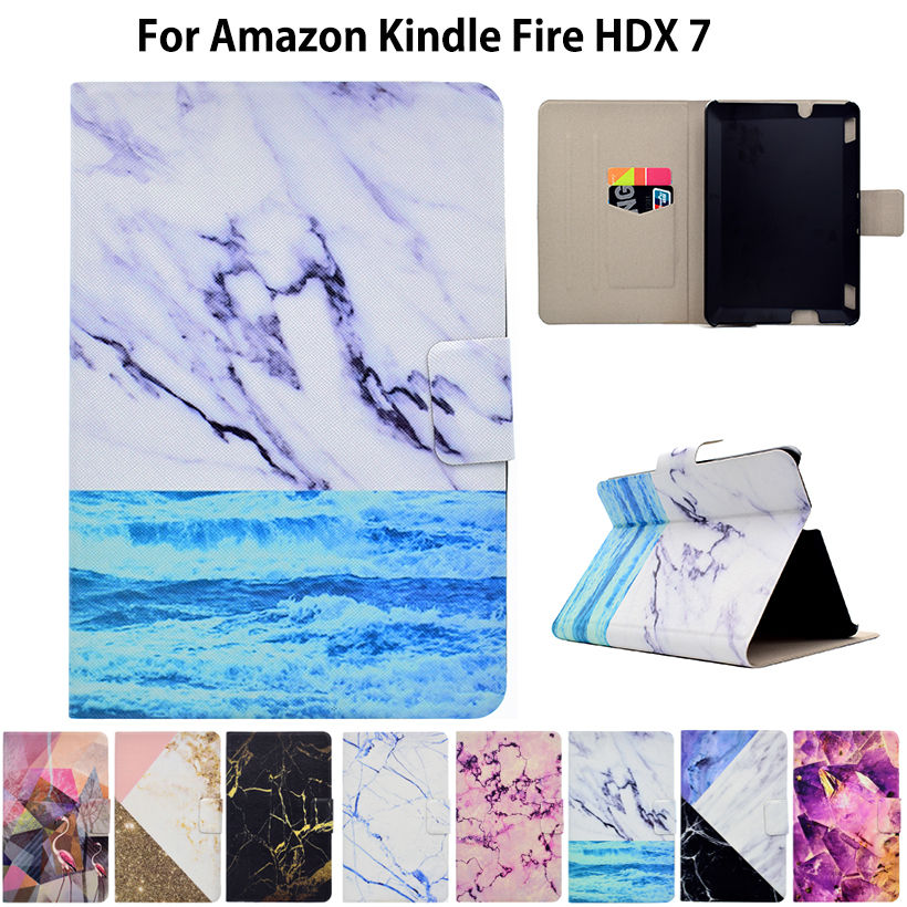 Marble Pattern eBook Case For Amazon Kindle Fire HDX 7 HDX7 7 inch Smart Cover Tablet Stand Ultra Slim PU Leather Funda Shell pink marble grain magnet pu flip cover for amazon kindle paperwhite 1 2 3 449 558 case 6 inch ebook tablet case leather case
