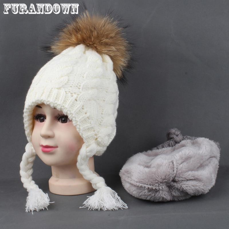 Sombreros para niños Invierno Cálido Forro polar Cap para niños Niñas Algodón de punto Cola de caballo Gorro pompones de piel real con orejas