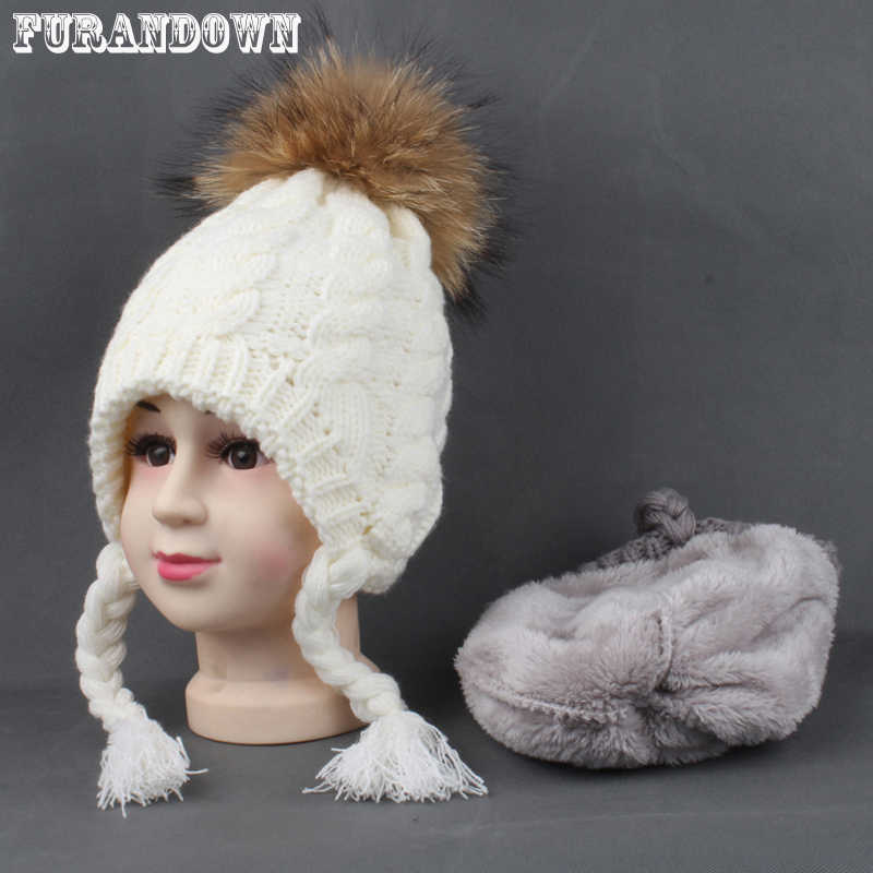 bb901491df3 Kids Hats Winter Warm Fleece Liner Cap For Children Girls Cotton Knitted  Ponytail Beanie Real Fur