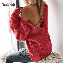 Nadafair winter backless sexy sweater women v neck long sleeve loose knitted pullovers autumn solid casual knitting jumpers tops