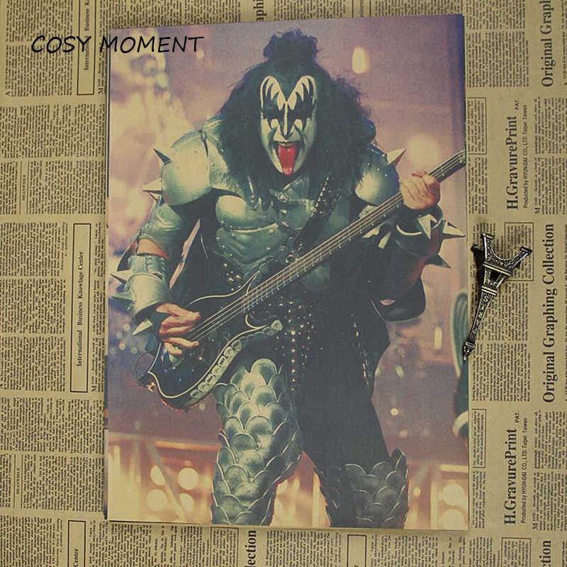 Cosy Moment Kiss Band ВИНТАЖНЫЙ ПЛАКАТ американская музыкальная рок-группа ретро крафт кафе бар настенная декоративная живопись постер QT379