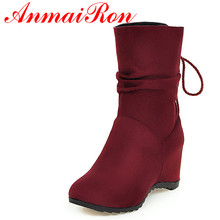 ANMAIRON New Autumn Half Boots Women Nubuck Height Increasing Lace-up Shoes Woman Black Red Yellow Colors Wedges Winter Boots new fashion autumn winter mid calf boots for women height increasing wedges shoes beige black boots white pearls beaded boots