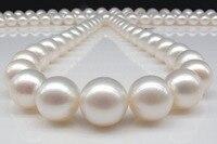 Prett милые женские свадебные оптовая продажа бесплатная доставка> Натуральный 12 13 мм Южное море белый жемчуг ожерелье 18 дюймов