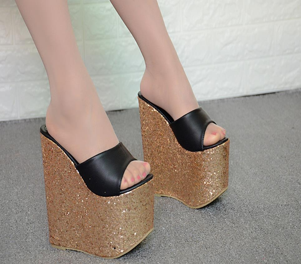 Spring and summer new 16cm slope and thick bottom super high heel fish mouth word drag womens shoes,Spring and summer new 16cm slope and thick bottom super high heel fish mouth word drag womens shoes,