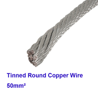 Free Shipping 1m Lot High Quality Red Coppper Electric Cable 50 Square Tinned Copper Stranded Wire