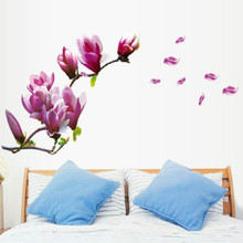 Home Decoration Beautiful Mangnolia Flowers Removable Wall Art Decals Vinyl Sticker Wallpaper